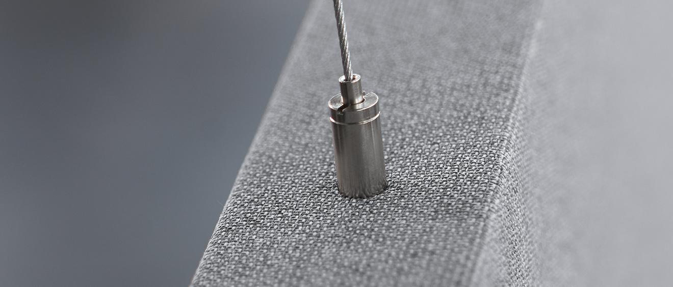 Finition des panneaux acoustiques AirPanel - housse textile transsonore - coulisstop - Texdecor